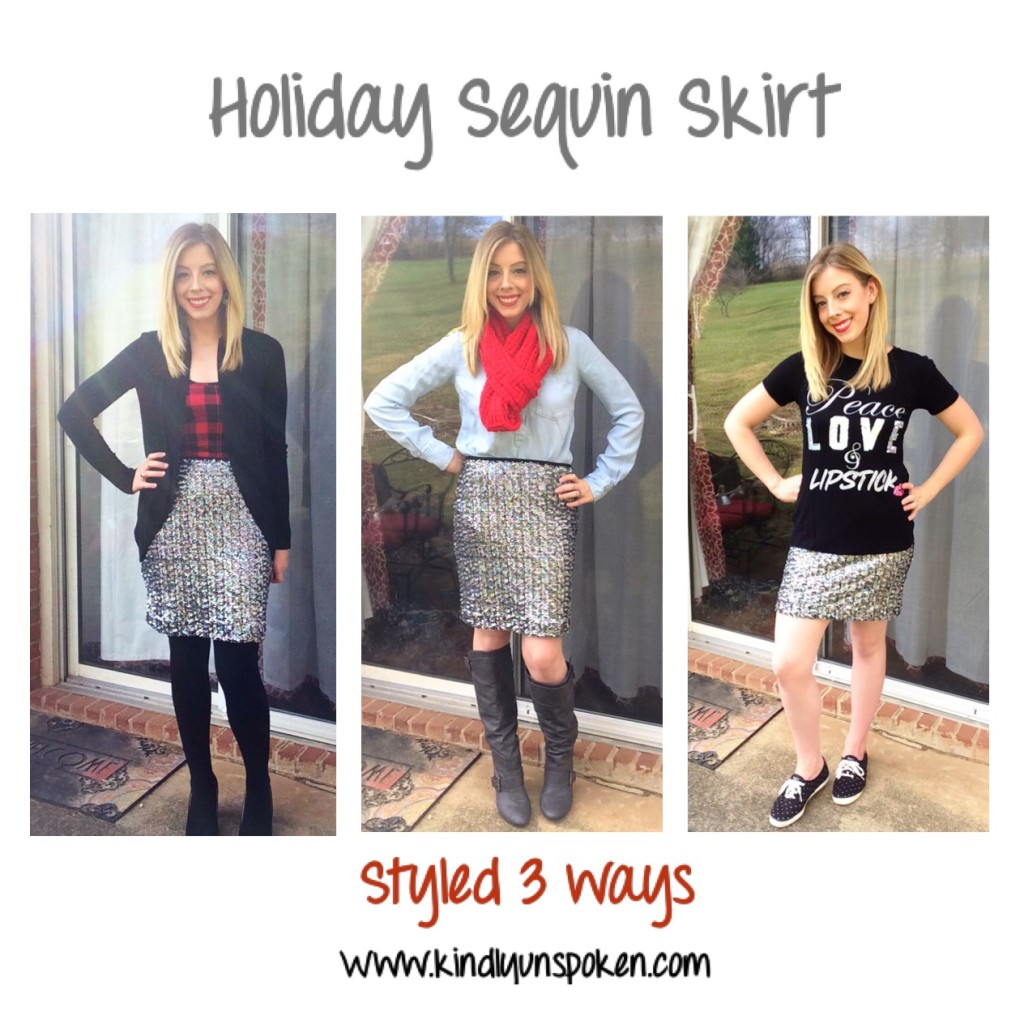 holiday sequin skirt styled three ways