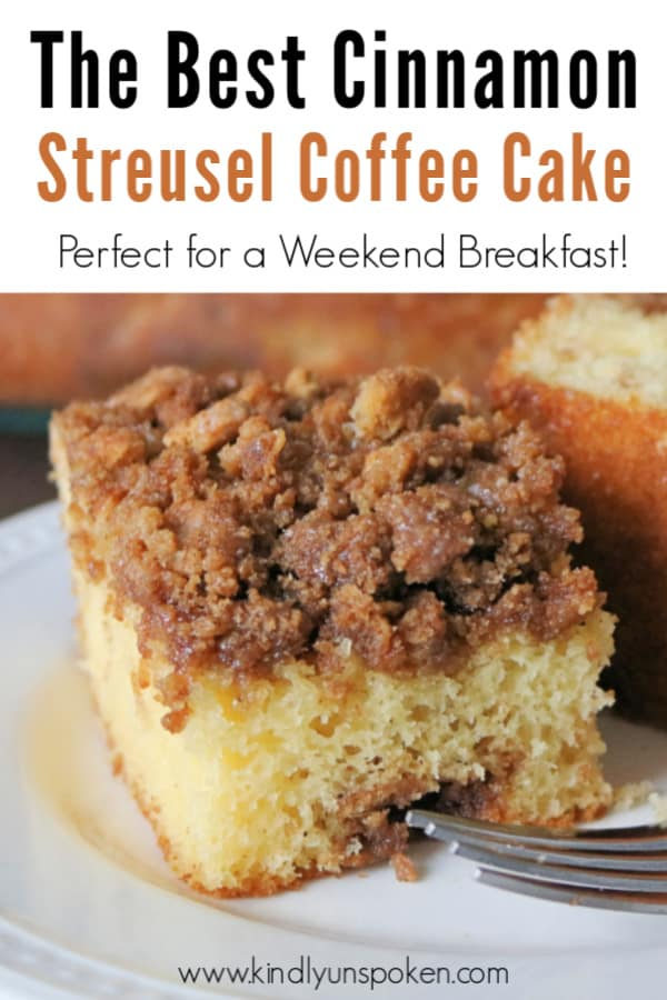 Try my easy graham cracker cinnamon streusel coffee cake for a delicious weekend breakfast treat! This coffee cake is made with a simple yellow cake mix and features a cinnamon sugar and graham cracker crumb streusel that's so good! #coffeecake #streusel #grahamcrackercake #breakfast