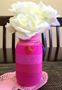 Pink Ombre Valentine's Day Mason Jars DIY