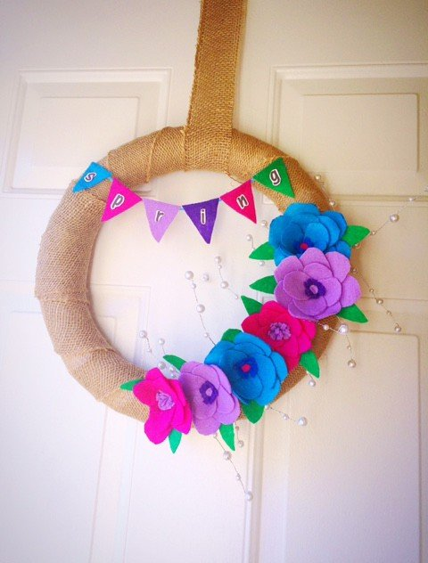 Colorful Spring Felt Flower Wreath-DIY