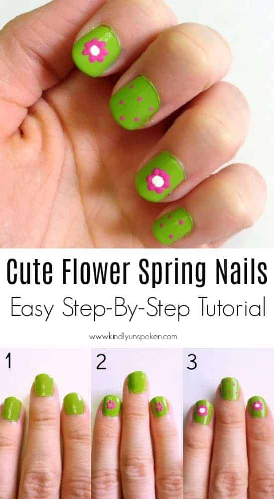 Looking for some cute nail inspiration for Spring? Check out my easy Cute Spring Flower Nails Tutorial that features bright spring colors, adorable flowers, and polka dots! #nails #springnails #flowernails
