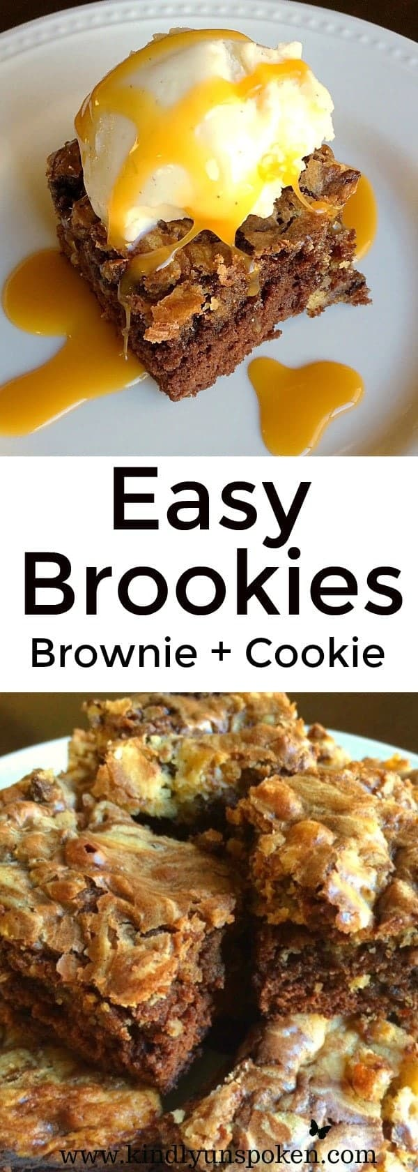 These are the best brookies ever and so easy to make! Made with a simple boxed brownie mix and my Mom's famous chocolate chip cookie dough, these chocolate chip brookies are a match made in heaven! #brookies #dessert