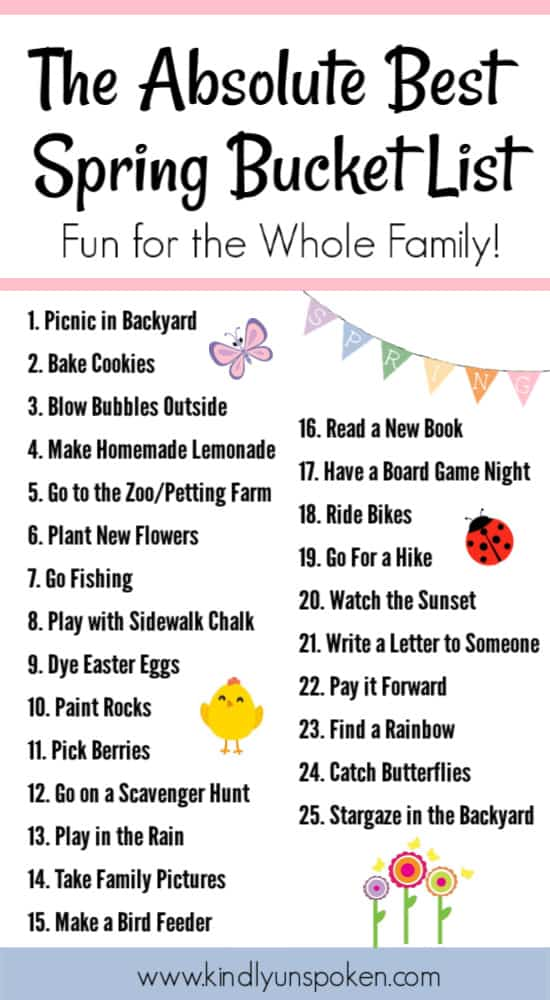 Check out my spring bucket list with 25 fun activities for kids and families to do this spring. This free spring bucket list printable includes ideas for outdoor activities, rainy day activities, and free and almost free things to do over spring break. #springbucketlist #springactivities #bucketlist #freeprintable #familyfun