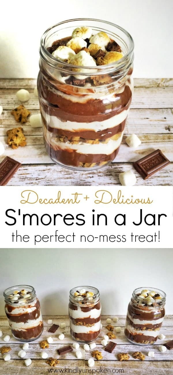 Looking for the an easy, no-bake summer time treat? Try this decadent and delicious s'mores in a jar dessert that's layered with chocolate pudding, marshmallow cream, and teddy grahams. The adorable mason jars also make it the perfect gift!