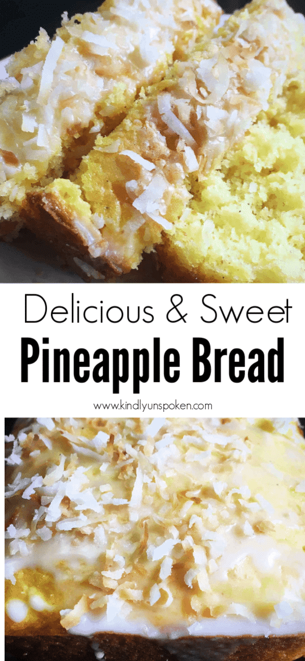 This easy pineapple bread is sweet, moist, and so delicious! This pineapple bread is made with a boxed cake mix, crushed pineapple, coconut, and features a delicious sweet icing on top! #pineapplebread #bread #quickbread #baking