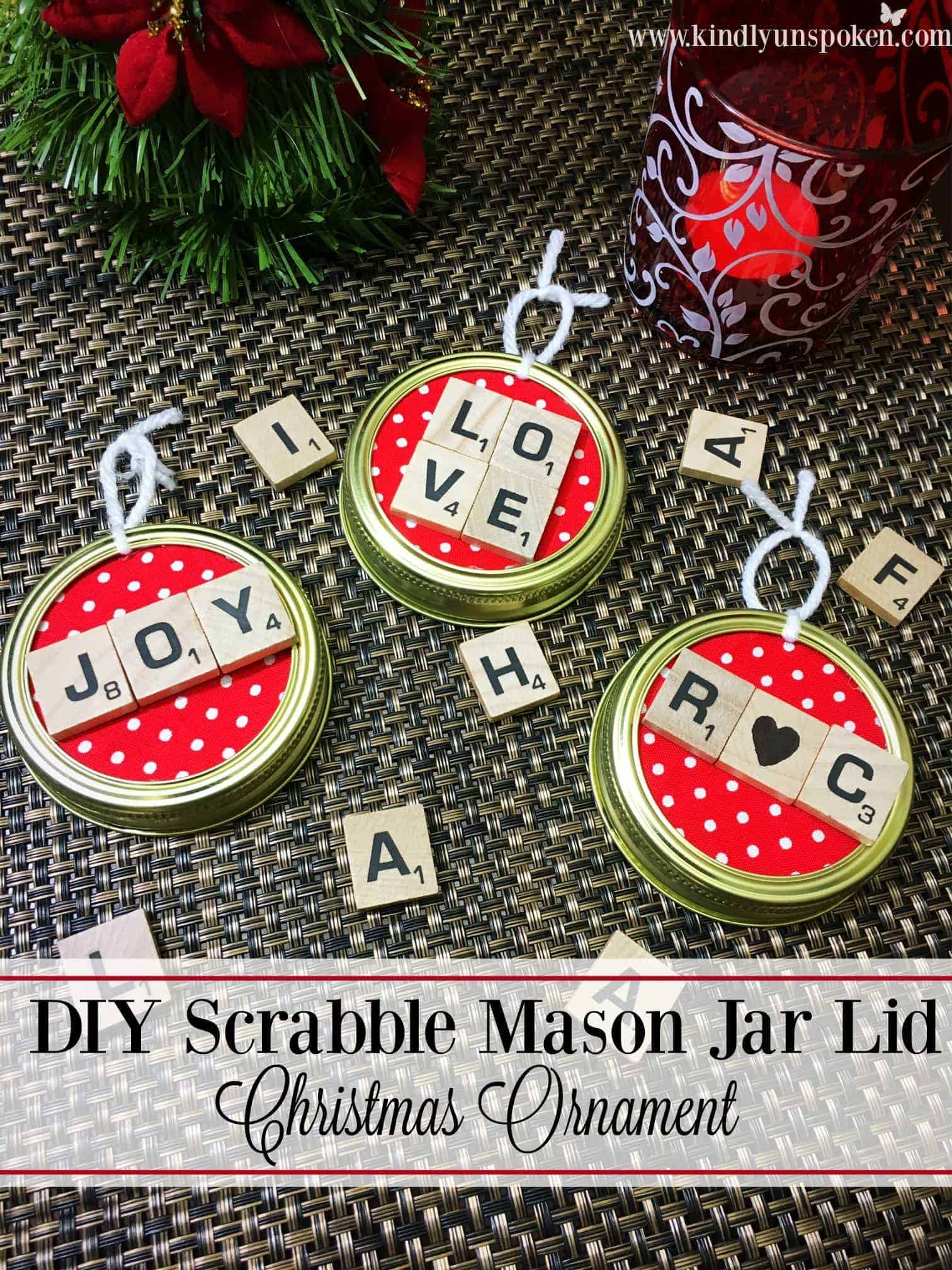 These DIY Christmas Mason Jar Lid Scrabble Ornaments are so cute and easy to make! Personalize them with holiday words or names to decorate the Christmas tree! #scrabbleornaments #christmasornaments #masonjarcrafts #scrabbletilecrafts #diychristmas