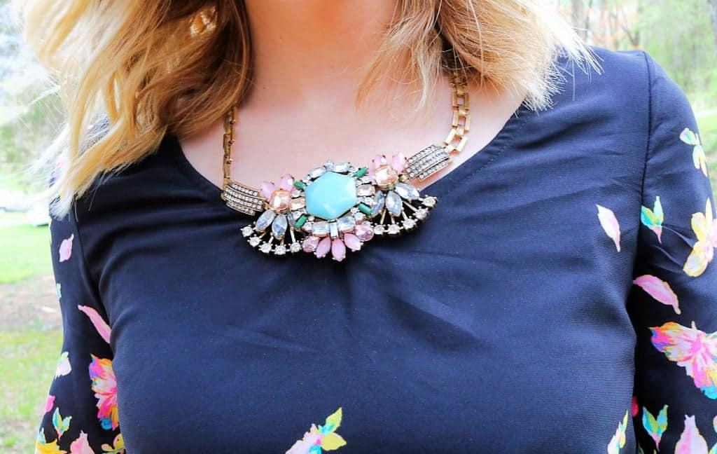 Black Floral Shift Dress + Statement Necklace