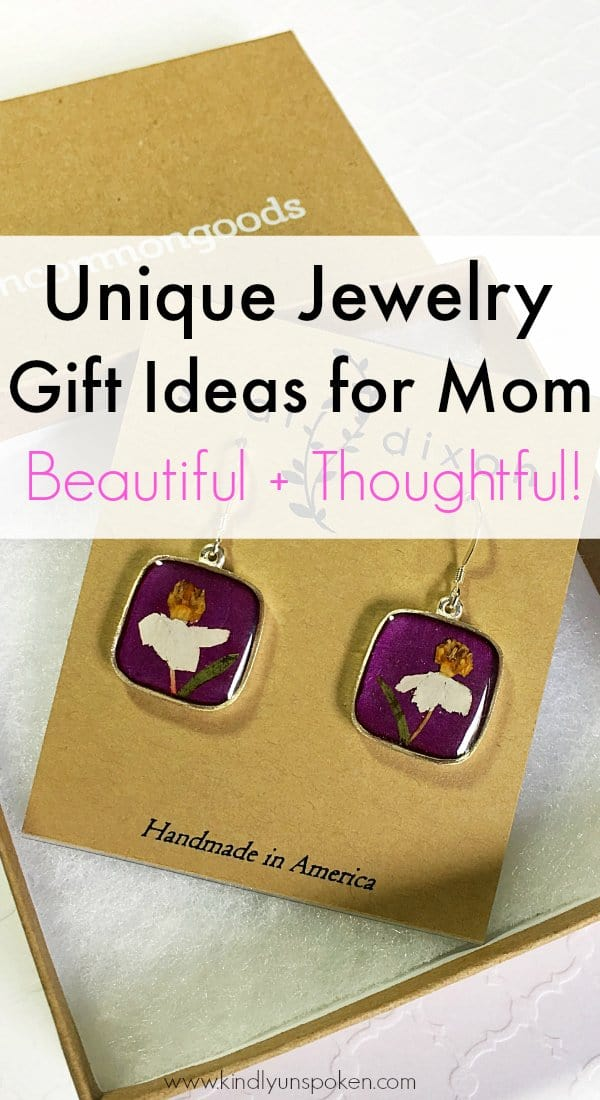 Looking for beautiful, thoughtful, and unique gifts to give your Mom this Mother's Day? Then you'll want to check out this awesome roundup of Unique Jewelry Gift Ideas for Mother's Day including gorgeous handmade necklaces, earrings, and other personalized jewelry from Uncommon Goods that every Mom will love to wear!