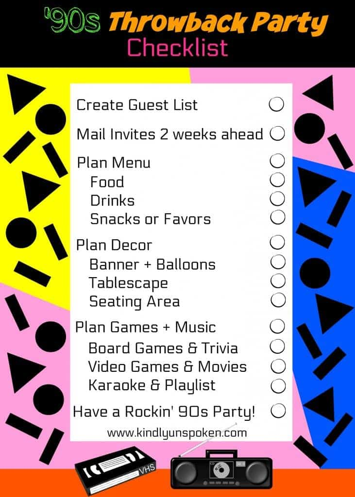 '90s Throwback Party Checklist
