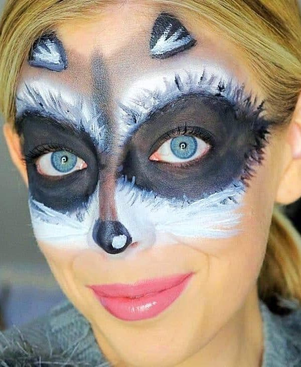 Cute and Easy Raccoon Makeup Mask Halloween Tutorial