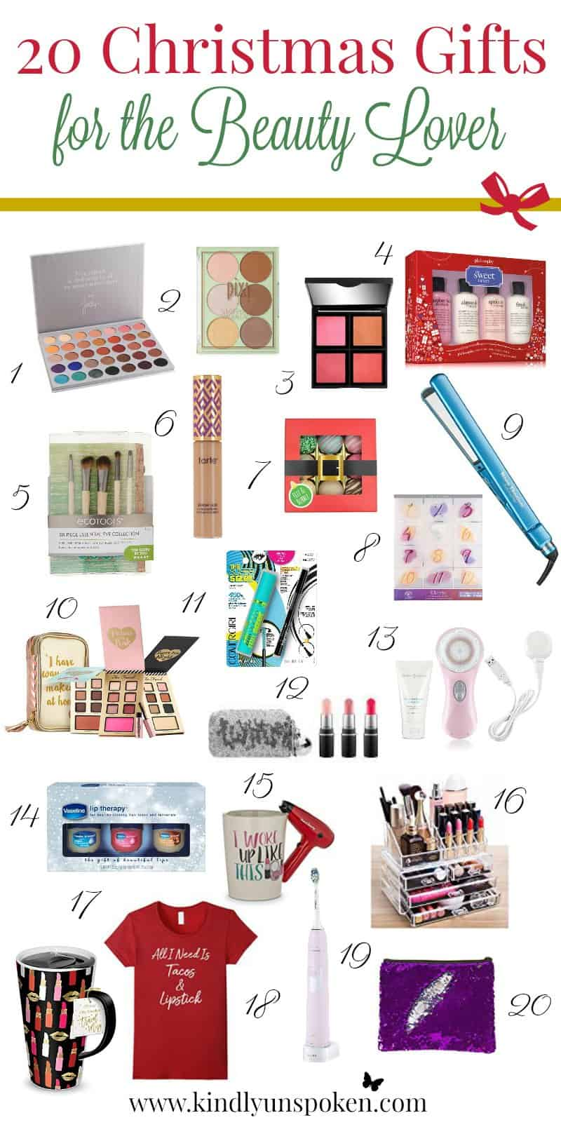20 Christmas Gifts for the Beauty Lover- Check out this list of top rated products any beauty lover would love to get!