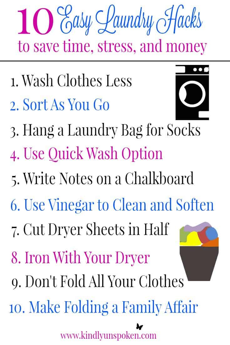 Check out my 10 Best Time Saving and Life Changing Laundry Hacks for Busy Moms! Use these easy laundry life hacks and laundry tips to save time, money, and to get more organized. #laundryhacks #laundry #organization #lifehacks