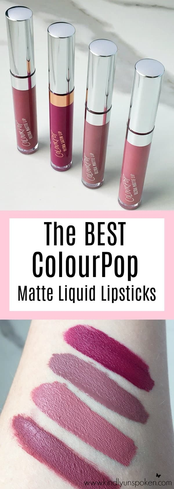 Best ColourPop Lipsticks- Review + Swatches: Today I'm sharing the Best ColourPop Lipsticks, which are beautiful, affordable, and every lipstick lover needs in their makeup collection! Sharing a full review and swatches of ColourPop liquid lipsticks and lippie stix and my favorite shade recommendations.
