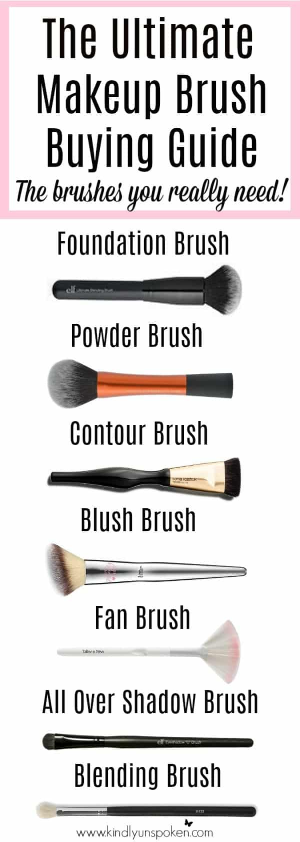 Check out my beginner makeup brush guide with a beginner's guide to makeup brushes, different types of makeup brushes and how to use them. Plus see which makeup brushes you really need and the best affordable drugstore makeup brushes for eyeshadow, foundation, contouring, and more! #makeupbrushes #makeupbrushguide #beginnermakeuptips