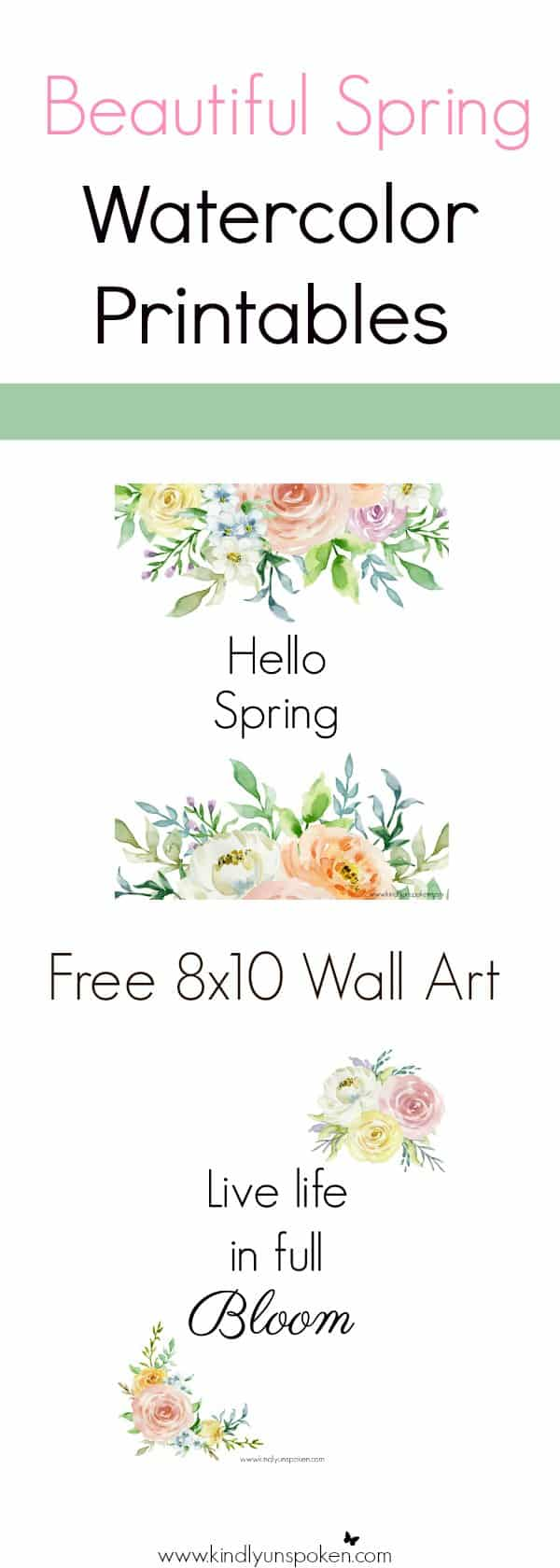 These free spring printables are the perfect wall art for brightening up your home or office space this spring or easter season! You'll love displaying these 8x10 printables that feature beautiful spring watercolor flowers and inspirational quotes on enjoying the beauty around you.