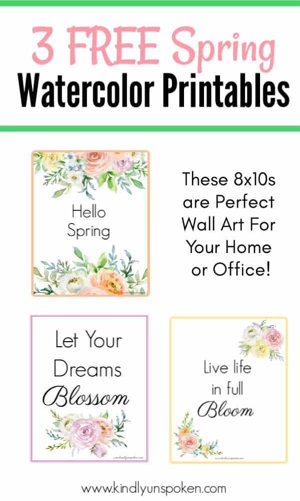 These free spring printables are the perfect wall art for brightening up your home or office space this spring or easter season! You'll love displaying these 8x10 printables that feature beautiful spring watercolor flowers and inspirational and motivational quotes. #printables #freeprintables #springquotes #springinspiration #springdecor