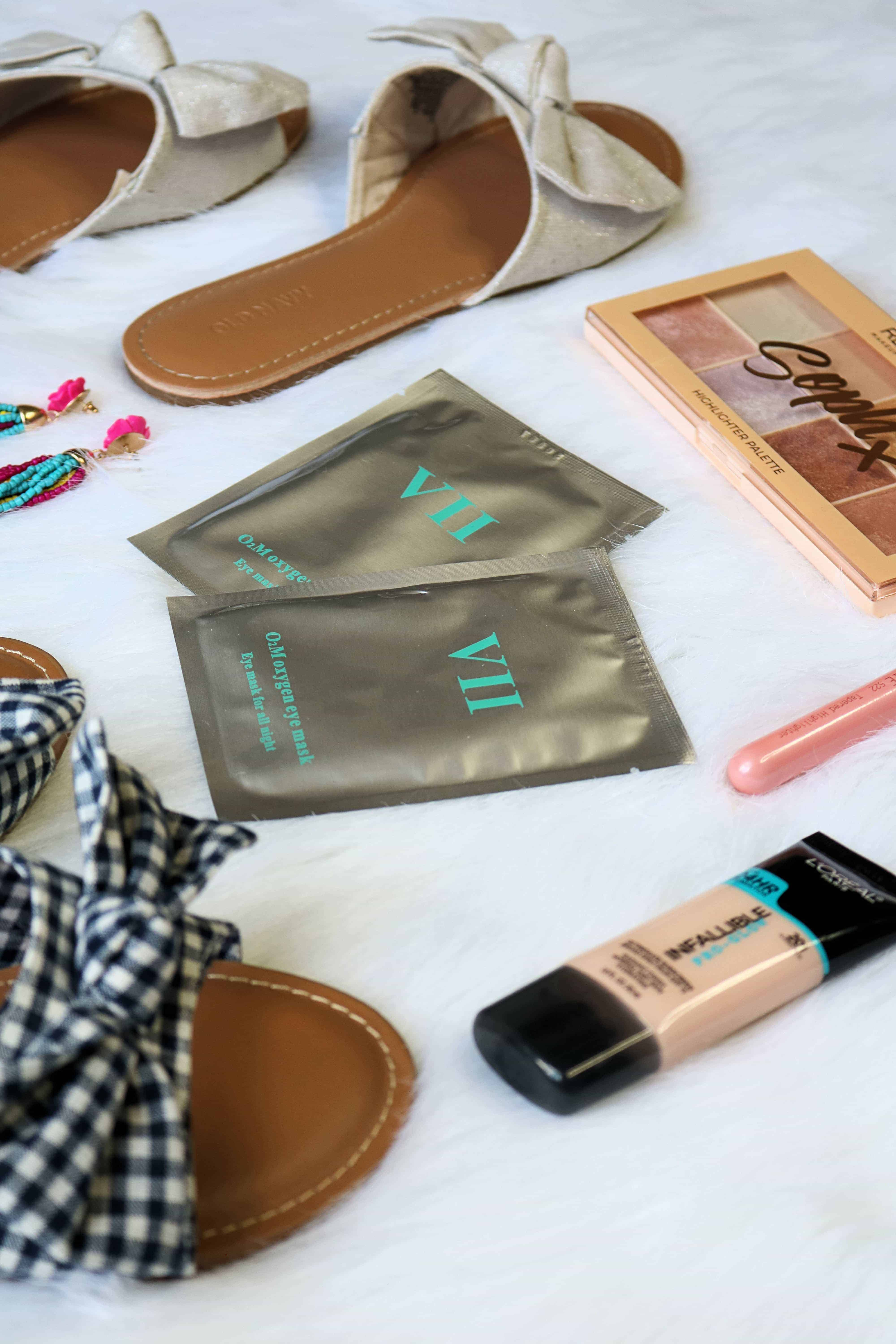 This June 2018 Monthly Beauty + Fashion Favorites post has it all- cute accessories, darling shoes, a skincare must-have for tired eyes, and some drugstore makeup goodies for getting your glow on! #monthlyfavorites #beautyfavorites #makeup #skincare #fashionmusthaves