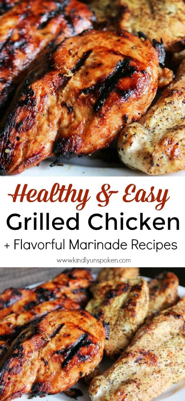 If you want the BEST grilled chicken breast recipe, then look no further! Today I'm sharing my easy and healthy grilled chicken breast recipes with 2 simple marinades you'll love! Pair with whole grain rice or a salad for a healthy, protein-packed meal. #grilledchicken #chickenrecipe #healthyrecipe