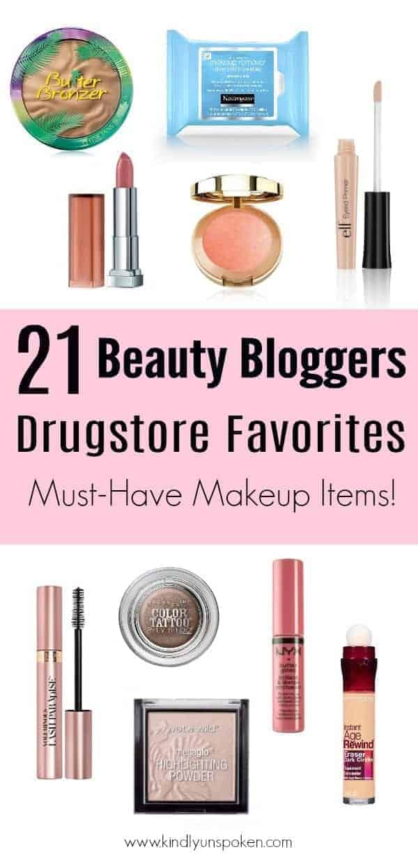 21 Beauty Bloggers reveal the BEST drugstore makeup products in this awesome roundup of drugstore makeup must haves and affordable beauty products! From drugstore concealer, foundation, and primer to mascara, eyeshadow, lipstick, and more, check out which drugstore makeup products they can't live without! #drugstoremakeup #affordablemakeup #makeup
