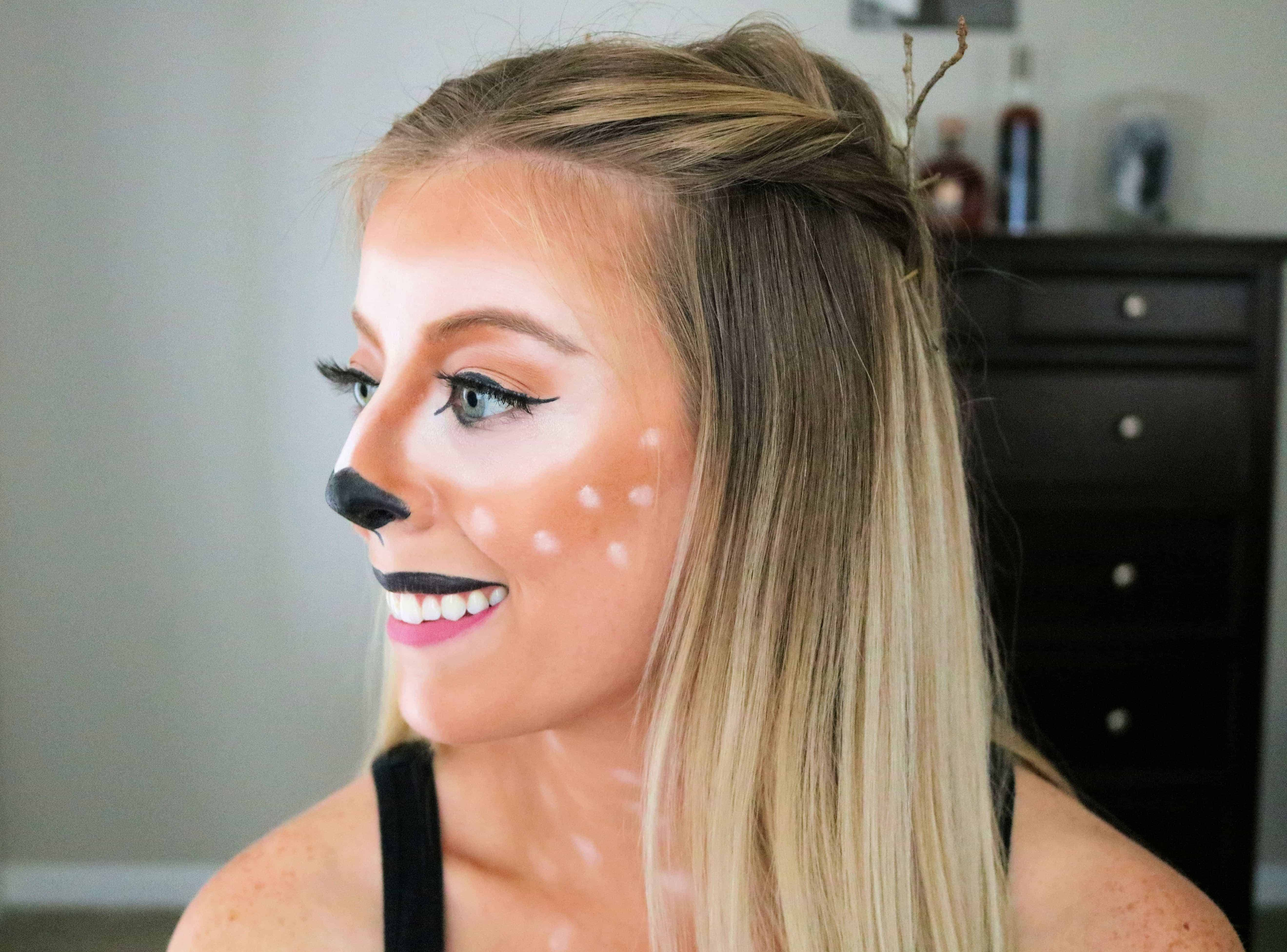 This deer makeup Halloween costume is so cute and easy to create! Check out my simple, step-by-step tutorial using drugstore makeup products to get this deer makeup look for Halloween! #halloweenmakeup #deermakeup #halloweencostume #bambimakeup
