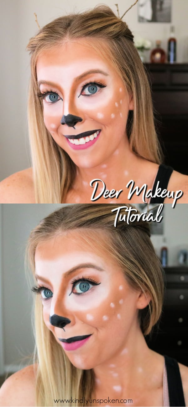 Want to be a cute deer for Halloween? Check out my simple, step-by-step Deer Makeup Halloween Tutorial using drugstore makeup products and learn how to get this cute and easy deer makeup look for Halloween! #halloweenmakeup #deermakeup #halloweencostume #bambimakeup #diy