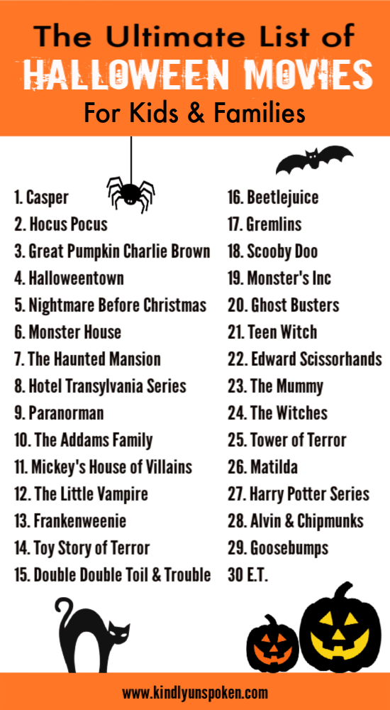 Check out this ultimate list of not-so-scary halloween movies for kids and families to watch the whole month of October! #halloweenmovies #halloween #halloweenmovielist