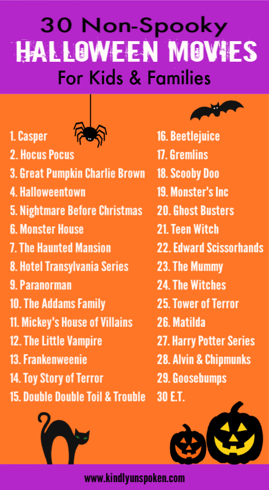 Check out this non-spooky list of halloween movies for kids and families to watch the whole month of October! #halloweenmovies #halloween #halloweenmovielist