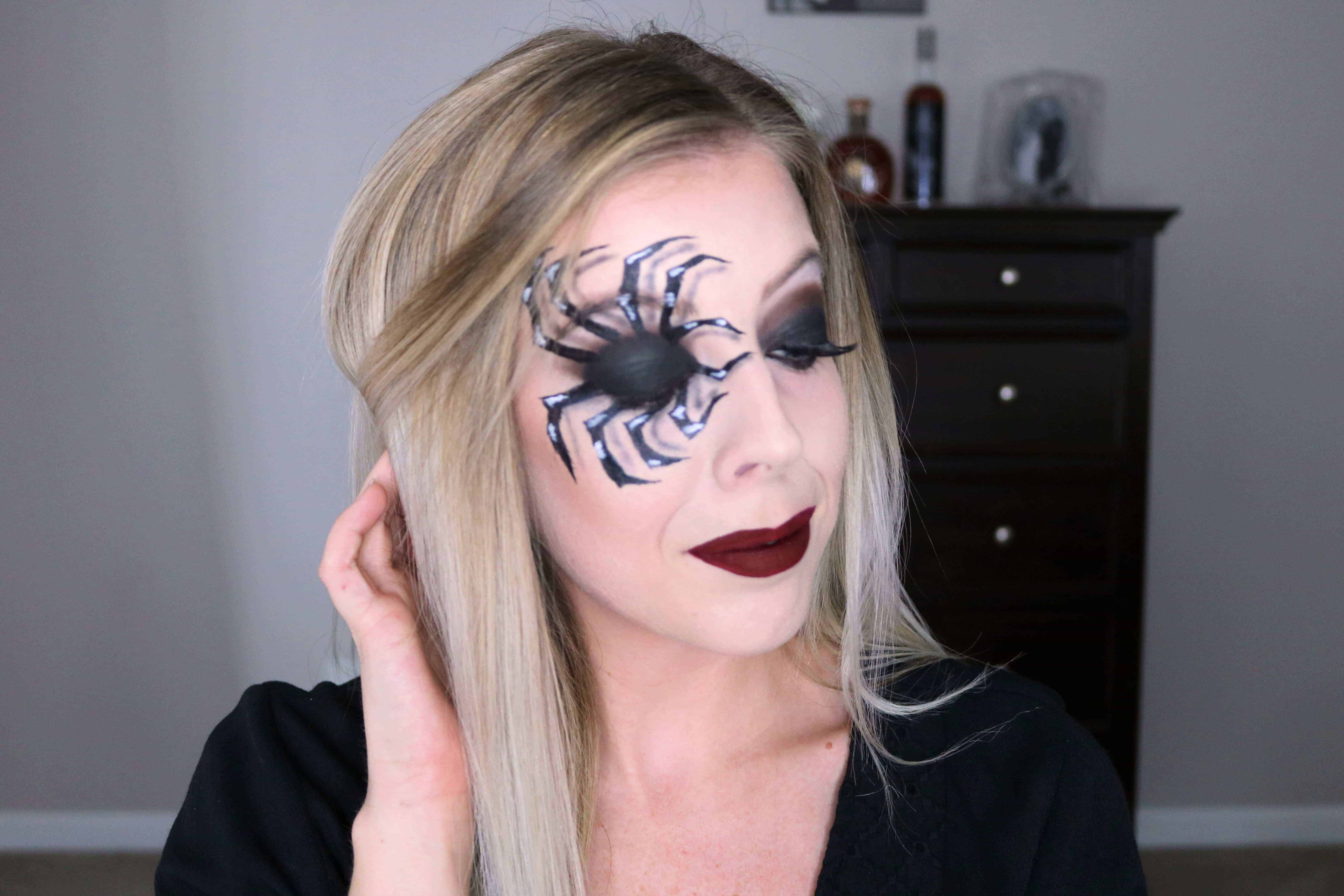 This Spooky Spider Makeup is my most favorite halloween makeup look yet! Check out the post for a step-by-step tutorial on this fun 3D spider makeup look. #halloweenmakeup #spidermakeup #makeuptutorial #halloweencostume