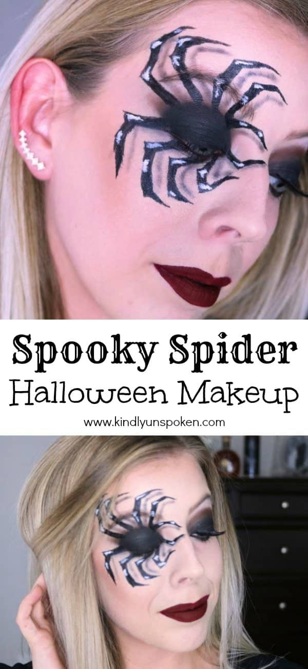This fun, creepy, and spooky spider makeup Halloween look is my favorite! Follow my easy, step-by-step tutorial to learn how to create this realistic looking black widow spider eye makeup and 3D spider legs. #halloweenmakeup #spidermakeup #makeuptutorial #halloweencostume