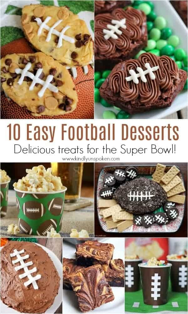 10 Easy Football Desserts | Need food recipe ideas that everyone will love to eat at your next Super Bowl party? Check out my roundup of the 65 Best Super Bowl Party Food Recipes including easy and delicious appetizers, wings, dips, snacks, desserts, and more! #superbowl #partyfood #superbowlfood