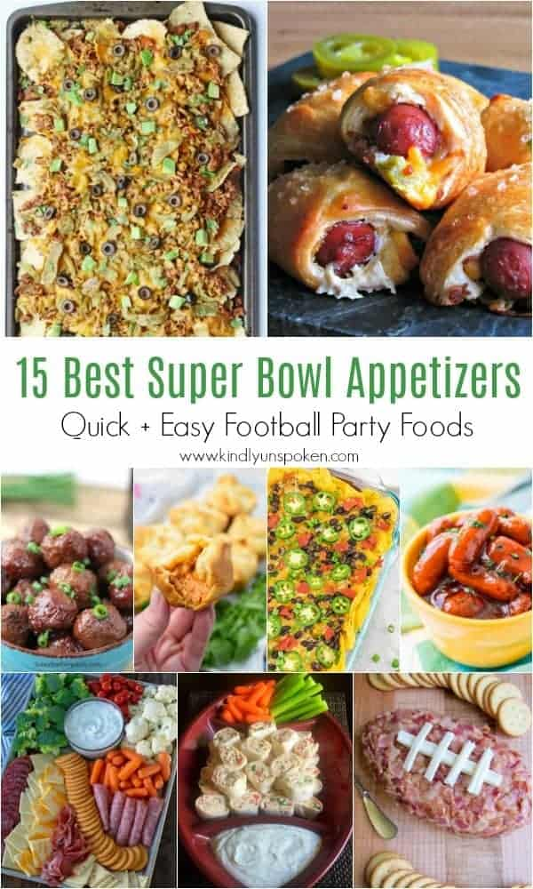 15 Best Super Bowl Appetizers | Need game day recipes for your Super Bowl party? Check out 65 of the best Super Bowl recipes that will feed a crowd including easy and delicious super bowl appetizers, wings, dips, sliders, snacks, desserts, and more! #superbowl #partyfood #superbowlfood #gamedayrecipes #appetizers #snacks