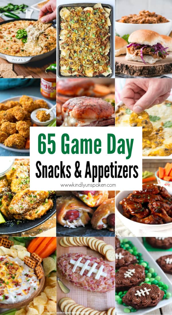 Need game day recipes for your Super Bowl party? Check out 65 of the best Super Bowl recipes that will feed a crowd including easy and delicious super bowl appetizers, wings, dips, sliders, snacks, desserts, and more! #superbowl #partyfood #superbowlfood #gamedayrecipes #appetizers #snacks