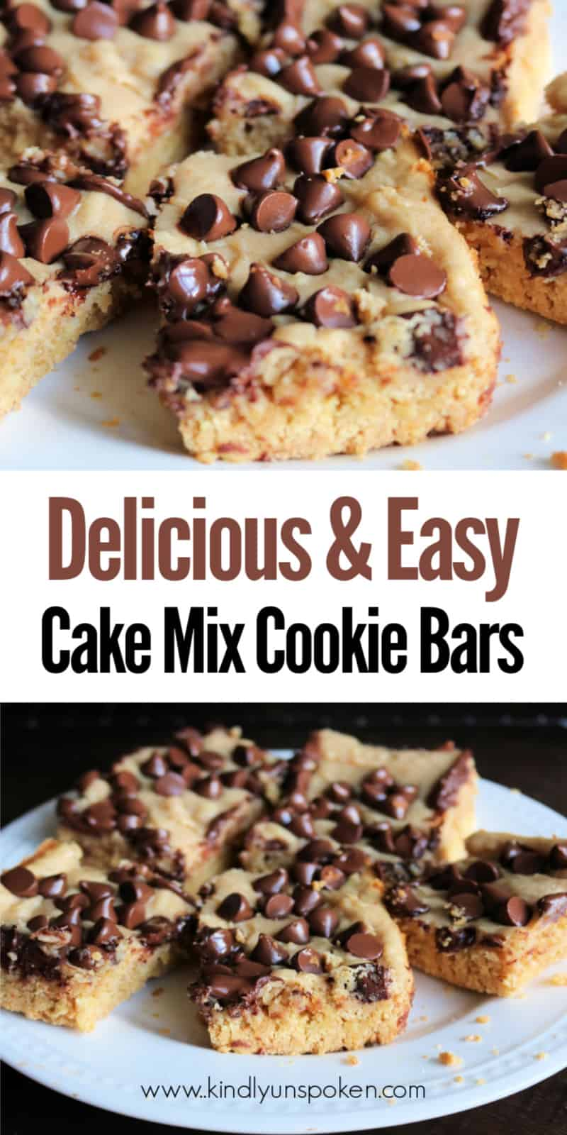 Craving peanut butter and chocolate? Try these soft, delicious, gooey peanut butter chocolate chip bars! These cake mix cookie bars are made in a 13x9 pan using a yellow cake mix, creamy peanut butter, cream cheese, and are topped with semi-sweet chocolate chips. Even better these chocolate chip bars bake in less than 30 minutes! #peanutbutterbars #chocolatechipbars #cookiebars #cakemixbars