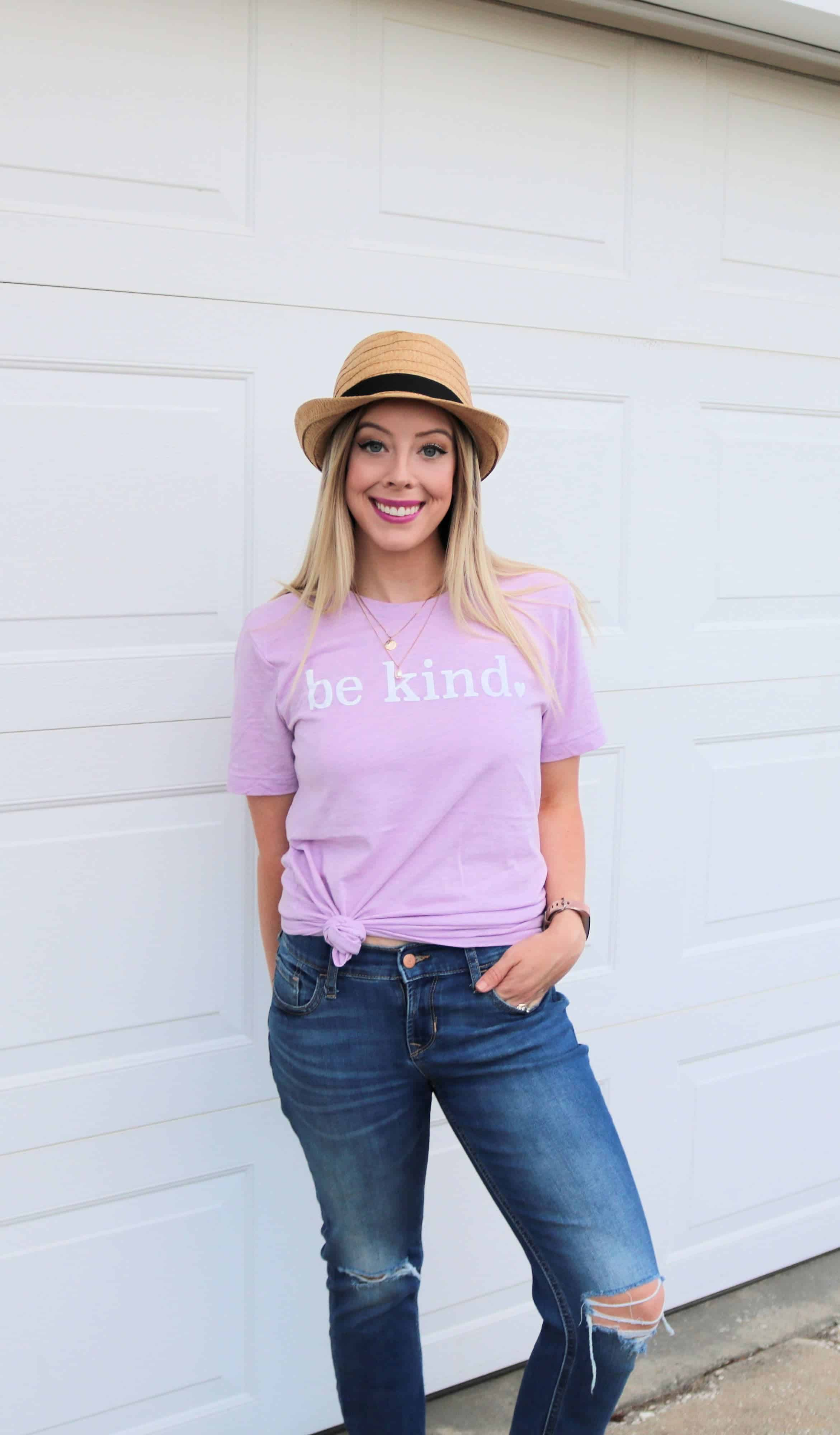 "Love affordable graphic tees for spring/summer? Check out this roundup of cute women's graphic tees including this adorable ""Be Kind"" t-shirt and other cute, vintage, funny, and inspirational tees. I'm also sharing where to buy graphic tees for the BEST prices! #graphictees #springfashion #bekind"