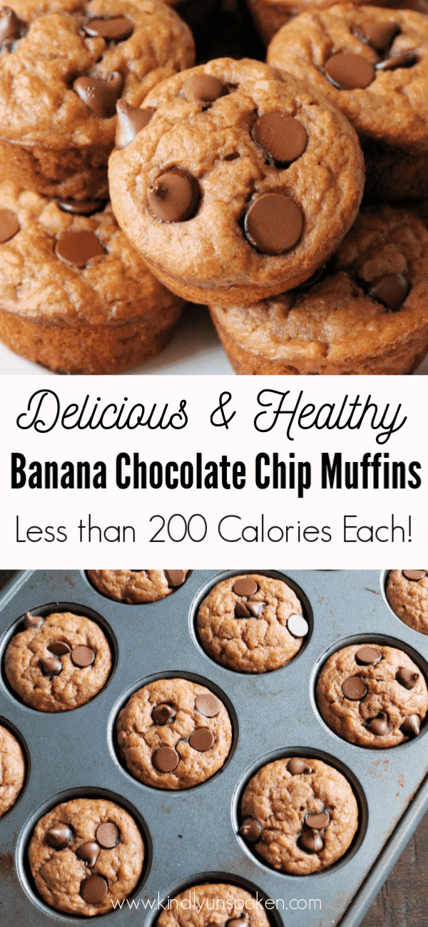 You'll love these Healthy Banana Chocolate Chip Muffins that have less than 200 calories in them! They're delicious, super moist, and made with healthy ingredients like whole wheat flour, honey, and protein-packed nonfat greek yogurt. #bananamuffins #muffins #breakfast #healthymuffins