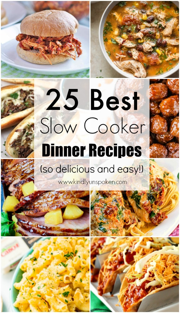 Looking for the best slow cooker dinner recipes? Check out this incredible roundup of 25 Easy Slow Cooker Recipes full of delicious and healthy crockpot meals including chicken, beef, pork, pasta, soup, and more! Simply dump them in the crockpot and go! #slowcooker #crockpot #slowcookerrecipes #crockpotrecipes
