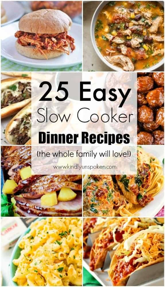 Need easy weeknight meal ideas? Check out this incredible roundup of 25 Easy Slow Cooker Recipes full of delicious slow cooked meals that you can throw in the crockpot and enjoy! #slowcooker #crockpot #dinnerrecipes #slowcookerrecipes