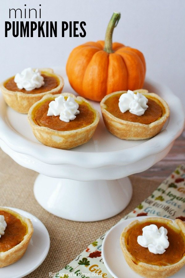 Mini Pumpkin Pies | Here's 15 of the Best Pumpkin Desserts for Fall including pumpkin pie, pumpkin bread, pumpkin cookies and more! Head on over for all the recipes for these delicious and easy pumpkin desserts. #pumpkindesserts #pumpkinrecipes #falldesserts