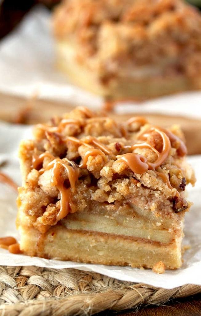 Salted Caramel Apple Pie Bars - Love apple desserts? Get your fall baking on with these 15 delicious and easy apple dessert recipes including the best apple pies, cakes, apple crisp, and more! #applerecipes #appledesserts #baking #fallbaking