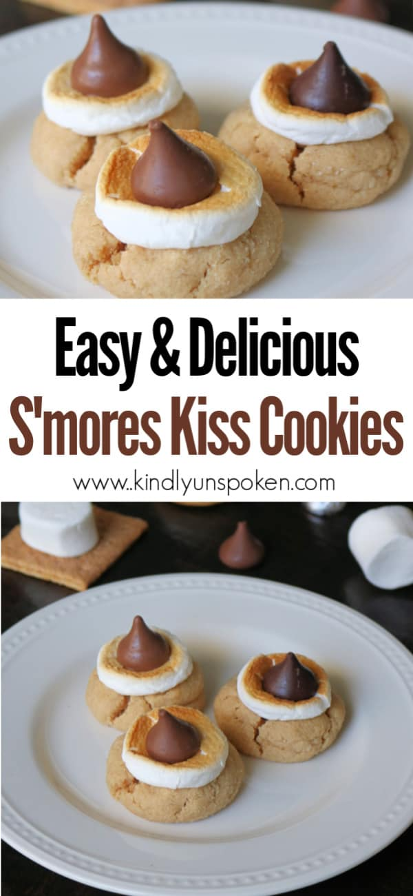 If you love blossom cookies, then you'll love these Easy Hershey Kiss S'mores Cookies! These hershey kiss cookies feature a delicious graham cracker sugar cookie and are topped with toasted marshmallows and chocolate kisses for the best s'mores cookies ever! #smorescookies #hersheykisscookies #cookies