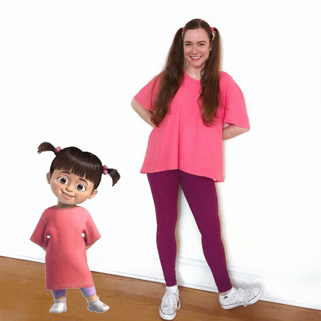"Boo from ""Monster's Inc."" Halloween Costume - Looking for cute, cheap, and easy Halloween costumes or unique last-minute, DIY Halloween costume ideas? Check out these 40 Creative Halloween Costume Ideas for women, moms, cute couples, small and large families, and best friends! You're sure to win the best Halloween costumes with these picks. #halloween #halloweencostumes #halloweencostumeideas #easycostumes"
