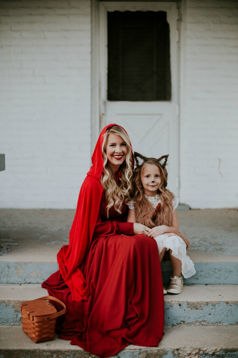 Little Red Riding Hood & Big Bad Wolf Halloween Costume - Looking for cute, cheap, and easy Halloween costumes or unique last-minute, DIY Halloween costume ideas? Check out these 40 Creative Halloween Costume Ideas for women, moms, cute couples, small and large families, and best friends! You're sure to win the best Halloween costumes with these picks. #halloween #halloweencostumes #halloweencostumeideas #easycostumes