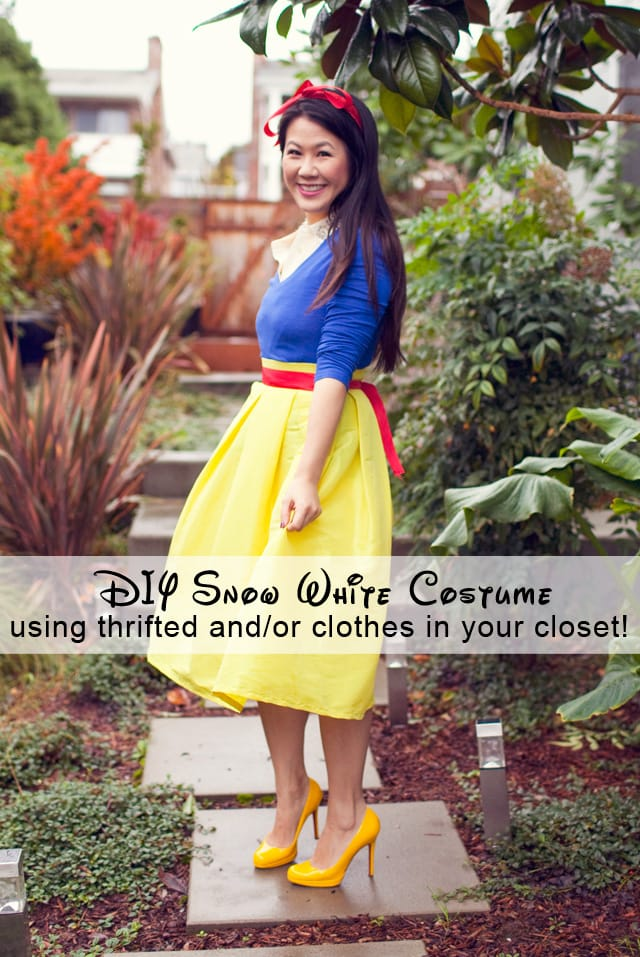 DIY Snow White Halloween Costume - Looking for cute, cheap, and easy Halloween costumes or unique last-minute, DIY Halloween costume ideas? Check out these 40 Creative Halloween Costume Ideas for women, moms, cute couples, small and large families, and best friends! You're sure to win the best Halloween costumes with these picks. #halloween #halloweencostumes #halloweencostumeideas #easycostumes