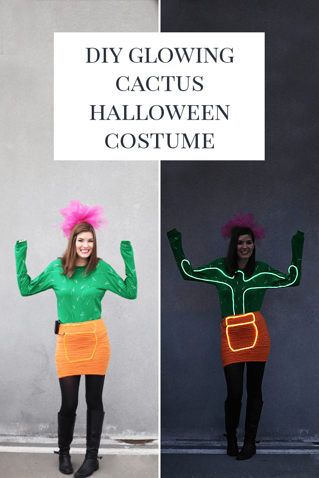 DIY Glowing Cactus Halloween Costume - Check out these 40 cute and creative Halloween costume ideas for women, couples, families, and friends! #halloween #halloweencostumes #halloweencostumeideas