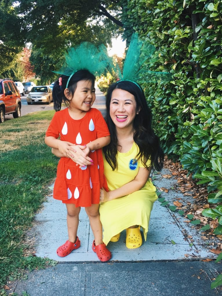 Strawberry & Banana Halloween Costume - Looking for cute, cheap, and easy Halloween costumes or unique last-minute, DIY Halloween costume ideas? Check out these 40 Creative Halloween Costume Ideas for women, moms, cute couples, small and large families, and best friends! You're sure to win the best Halloween costumes with these picks. #halloween #halloweencostumes #halloweencostumeideas #easycostumes