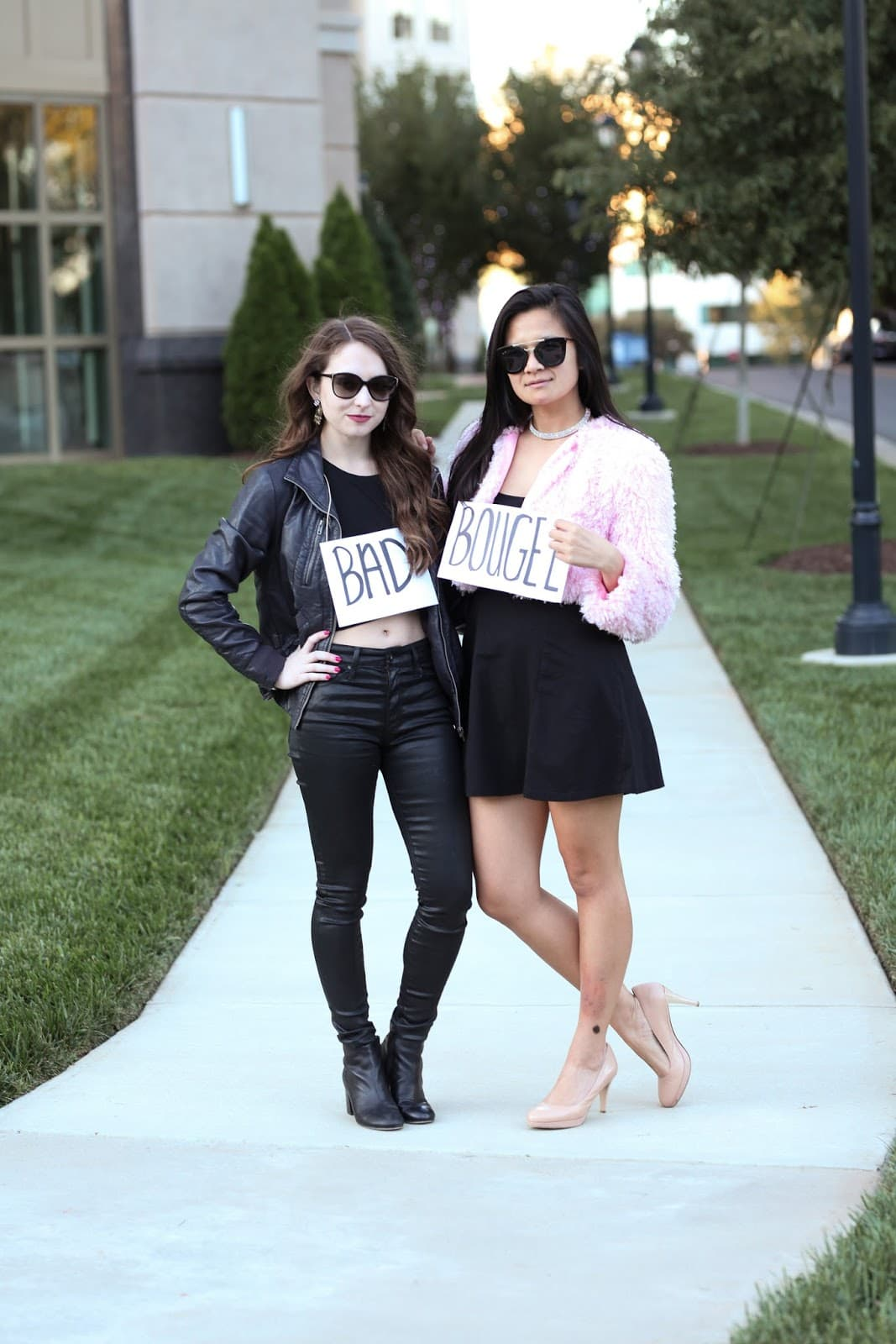 Bad + Bougee Friend Halloween Costume - Looking for cute, cheap, and easy Halloween costumes or unique last-minute, DIY Halloween costume ideas? Check out these 40 Creative Halloween Costume Ideas for women, moms, cute couples, small and large families, and best friends! You're sure to win the best Halloween costumes with these picks. #halloween #halloweencostumes #halloweencostumeideas #easycostumes