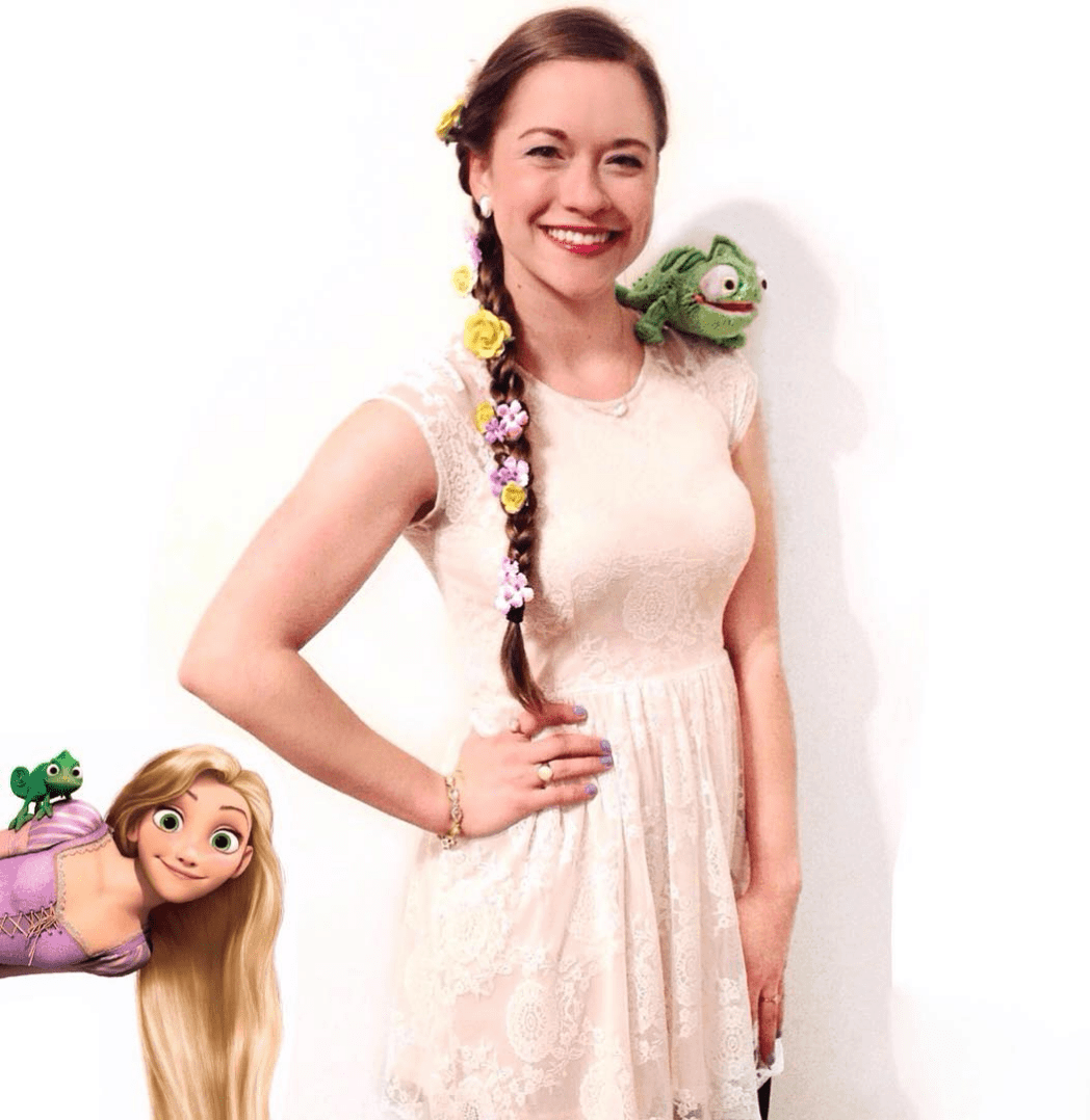 Rapunzel Halloween Costume - Looking for cute, cheap, and easy Halloween costumes or unique last-minute, DIY Halloween costume ideas? Check out these 40 Creative Halloween Costume Ideas for women, moms, cute couples, small and large families, and best friends! You're sure to win the best Halloween costumes with these picks. #halloween #halloweencostumes #halloweencostumeideas #easycostumes