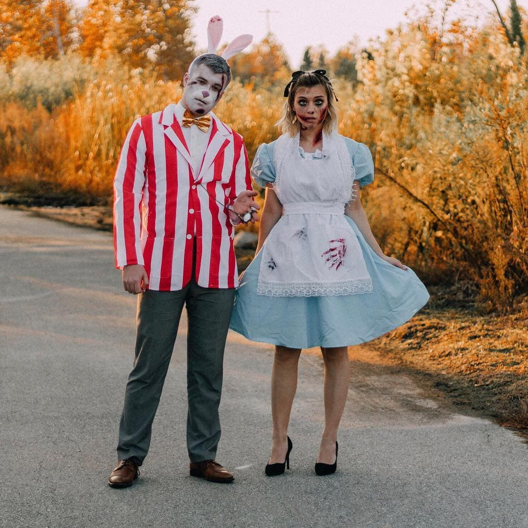 Alice & White Rabbit in Zombieland Halloween Costume - Looking for cute, cheap, and easy Halloween costumes or unique last-minute, DIY Halloween costume ideas? Check out these 40 Creative Halloween Costume Ideas for women, moms, cute couples, small and large families, and best friends! You're sure to win the best Halloween costumes with these picks. #halloween #halloweencostumes #halloweencostumeideas #easycostumes