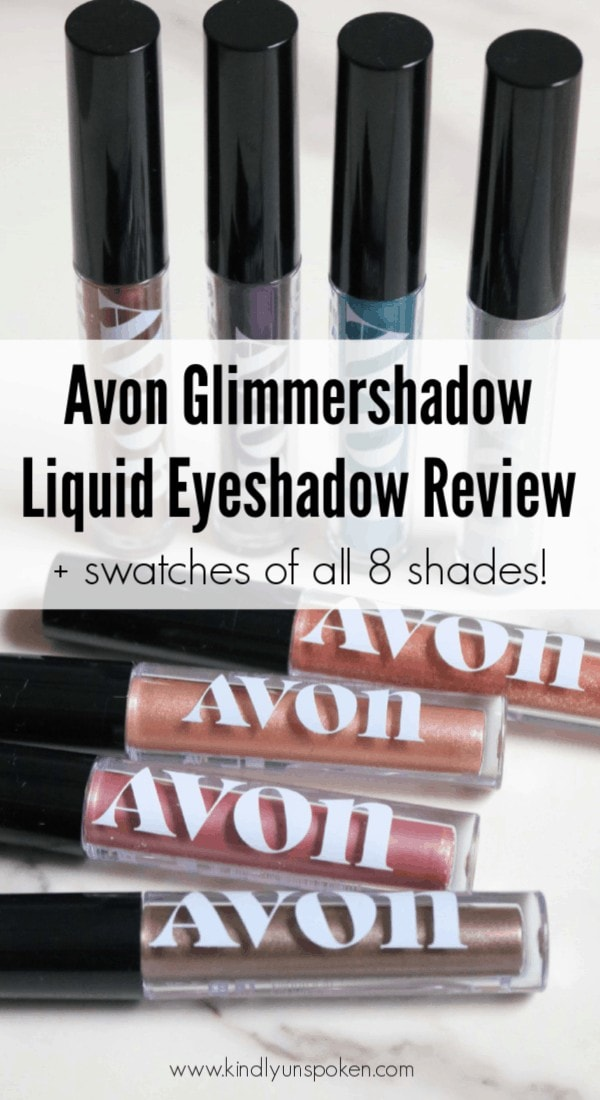 Sharing my review of the Glimmershadow Avon Liquid eyeshadow collection, which add the perfect touch of shimmer and sparkle to the eyelids! Check out swatches of all 8 shades! #avon #eyemakeup #liquideyeshadow