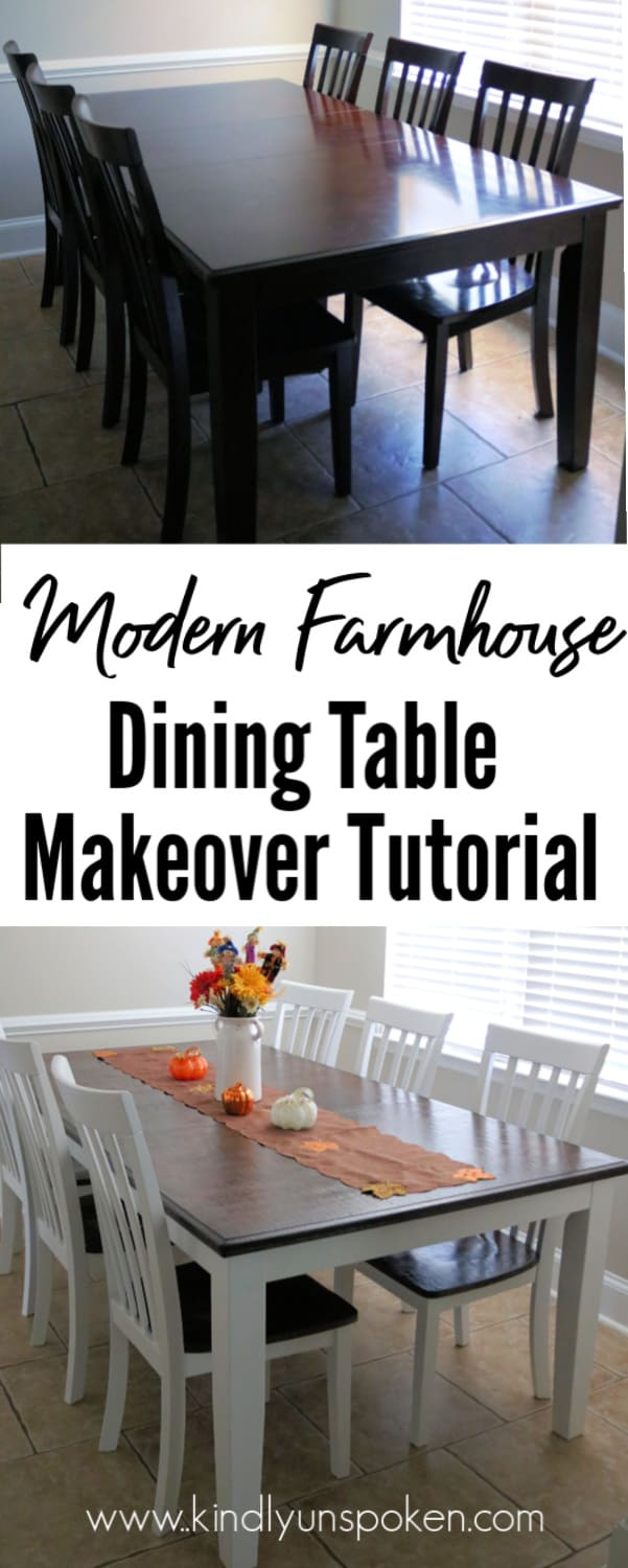 Want to learn how to use white chalk paint to give an old dining table a modern farmhouse makeover? Check out my Gorgeous Chalk Paint Dining Table Makeover DIY Tutorial where I used white Rustoleum Chalk Paint and dark wood stain to revamp my dining table. Check out the dramatic before and after and step-by-step beginner tutorial!  #chalkpaint #furnituremakeover #home #diy #farmhousetable